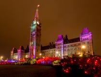渥太华在圣诞节的中心块 库存照片