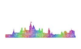 渥太华地平线剪影-多色线艺术 库存例证