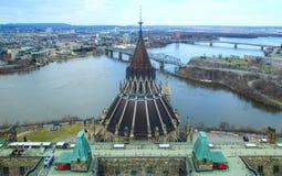 渥太华的议会图书馆屋顶  免版税库存图片