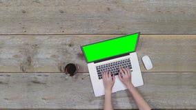 渥太华,加拿大- 2018年2月2日:研究苹果计算机膝上型计算机, MacBook赞成,绿色屏幕的妇女 股票视频