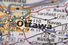 渥太华,在地图的安大略 免版税库存照片