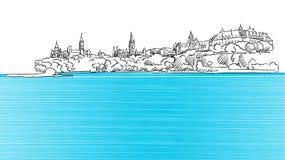 渥太华从安大略河看的全景剪影 皇族释放例证