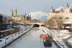 渥太华Ridean运河在冬天 库存照片