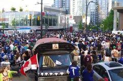 温哥华加人队冰球迷 库存图片