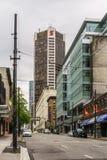 温哥华加拿大- 2017年5月13日,街市建筑学和大厦 库存图片