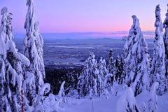 温哥华地平线在从赛普里斯山滑雪坡道的冬天 免版税库存图片