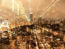 温哥华地平线在晚上 免版税库存照片