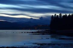 温哥华的史丹利公园在晚上 免版税图库摄影