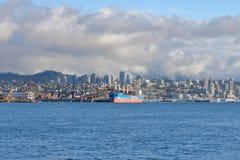温哥华都市风景和北部岸海口 库存照片