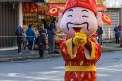 温哥华,加拿大- 2018年2月18日:财神爷在温哥华唐人街在农历新年庆祝时 库存图片