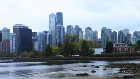 温哥华,横跨水4K的不列颠哥伦比亚省地平线timelapse  股票视频