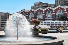 温哥华,英国COLUMBIA/CANADA - 8月14日:喷泉水 库存图片