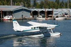 温哥华,英国COLUMBIA/CANADA - 8月14日:水上飞机taxiin 图库摄影