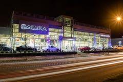 温哥华BC,加拿大- 2018年1月9日:Acura汽车经销权商店前面 Acura是日语豪华车分裂  免版税库存照片