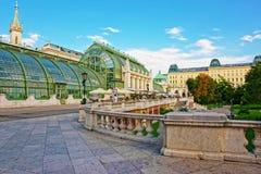 温室在Burggarten在维也纳在奥地利 免版税库存图片