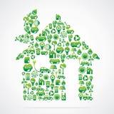 温室是与eco本质图标的设计 图库摄影