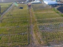 温室框架,顶视图 温室的建筑领域的 农业,闭合的地面agrotechnics  免版税图库摄影
