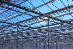 温室的金属结构的上面 免版税库存照片