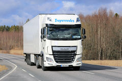 温度控制的运输的白色DAF半XF在Ro 免版税图库摄影