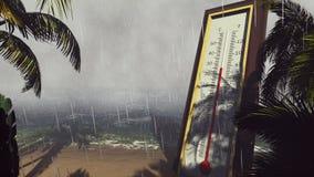 温度计华氏摄氏显示降低温度在风暴期间 全球性变暖的概念 3d翻译 库存例证