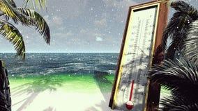 温度计华氏摄氏显示降低温度 全球性冷却的概念 3d翻译 向量例证