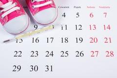 温度计和鞋子新出生的在日历,期望为婴孩 免版税库存图片