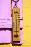 温度计木头 免版税库存照片