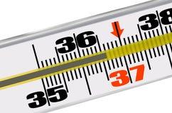 温度计温度36 6个特写镜头健康医学 库存图片