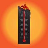 温度计融解,由于热空气 也corel凹道例证向量 免版税库存图片