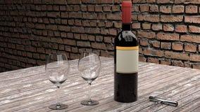 温暖和舒适餐馆用在一张木桌上的红葡萄酒 库存照片