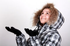 温暖女孩的夹克 图库摄影