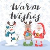 温暖愿望 圣诞老人、鹿和雪人 向量例证