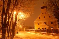 温暖教会轻的晚上 库存图片