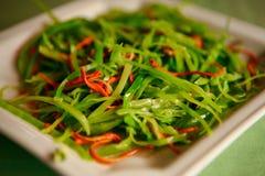 温暖的中国沙拉用圆白菜和辣子,在一块白色板材服务 库存图片