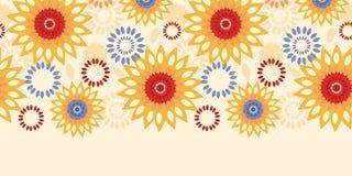 温暖的充满活力的花卉抽象水平的无缝的样式背景 免版税图库摄影