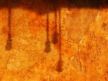 温暖的光和阴影在老墙壁上 免版税库存图片