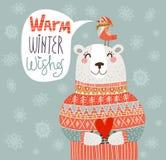 温暖的冬天祝愿在传染媒介的卡片 库存照片