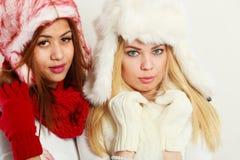 温暖的冬天衣物画象的两个女孩 库存图片