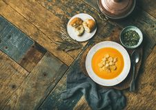 温暖的南瓜奶油色汤用油煎方型小面包片和种子,复制空间 库存图片