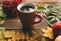 温暖的咖啡或茶收获秋天木头概念 免版税库存照片