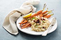温暖的奎奴亚藜沙拉用烤红萝卜 库存图片