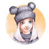 温暖的帽子的逗人喜爱的动画片女孩 向量例证