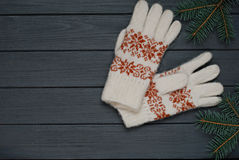 温暖的手套或手套有冷杉的在木背景分支 免版税库存照片