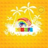 温暖的橙色与太阳的夏天五颜六色的背景 向量例证