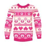 温暖的毛线衣的例证有猫头鹰和心脏的。桃红色版本。 免版税库存照片