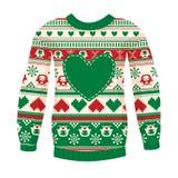 温暖的毛线衣的例证有猫头鹰和心脏的。红绿的ver 免版税图库摄影
