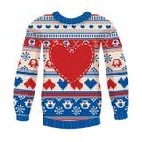 温暖的毛线衣的例证有猫头鹰和心脏的。 免版税库存图片