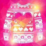 温暖的毛线衣的例证有猫头鹰和心脏的 库存照片