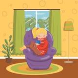 温暖的毛线衣的美丽的白肤金发的女孩坐有茶的扶手椅子,室内部葡萄酒样式家传染媒介 向量例证