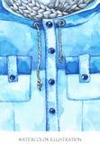 温暖的穿戴神色 手画夹克,在时尚概念的编织的围巾 免版税图库摄影